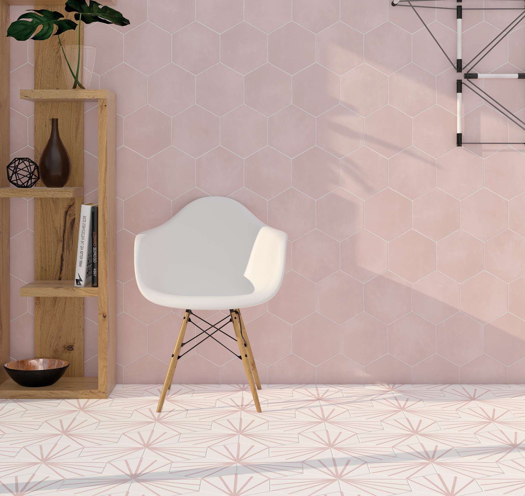 marrakech hexagon meraki lily pink tile 2